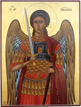 Saint Alexandros the Thessalonian acrylic and gold leaf on wood