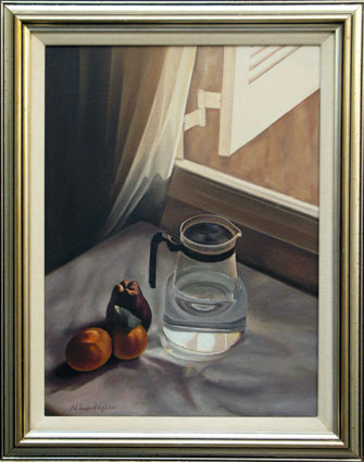 Pitcher and fruits by the window 40cm*30cm (without the frame) Oil on camvas